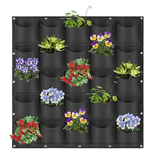 Macetas colgantes con 25 bolsillos para colgar en la pared verticales para plantas, jardinería, jardinería, jardinería, jardinería vertical, bolsa de almacenamiento (1 m × 1 m), color negro