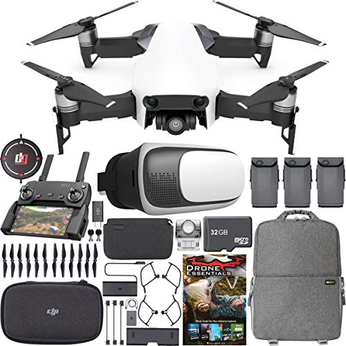 DJI Mavic Air Quadcopter Drone Arctic White Fly More Combo (Renewed) Bundle w/ Deco Gear Landing Pad + Essentials Software Kit + Photo and Video Backpack + VR Viewer + 32GB MicroSD Memory Card