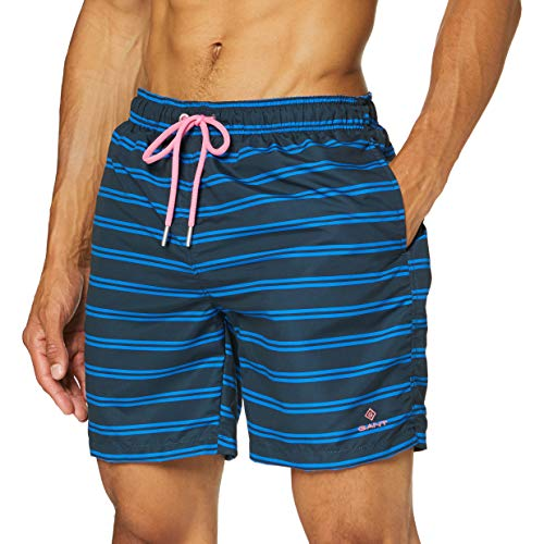 GANT Herren Double Breton Swim Long Cut Shorts, Blau (Marine 410), X-Large (Herstellergröße: XL)