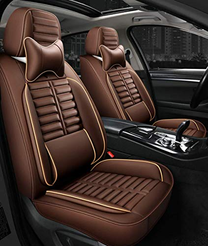 Complete set Universal Fit 5 seats Car waterproof PU Leather front Cushion Rear seat cushion with headrest Waist support cushions for ladan or SUV, A
