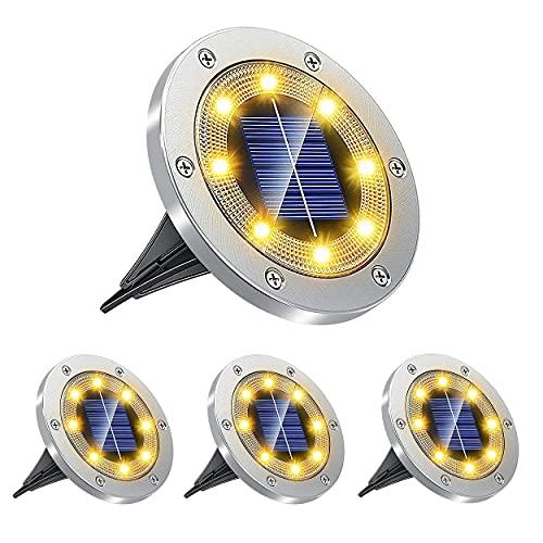 4 Luz Solar jardin,luces solares para exterior jardin,iluminacion jardin exterior,Resistente al agua y se puede utilizar en parques, carreteras, jardines, parques.
