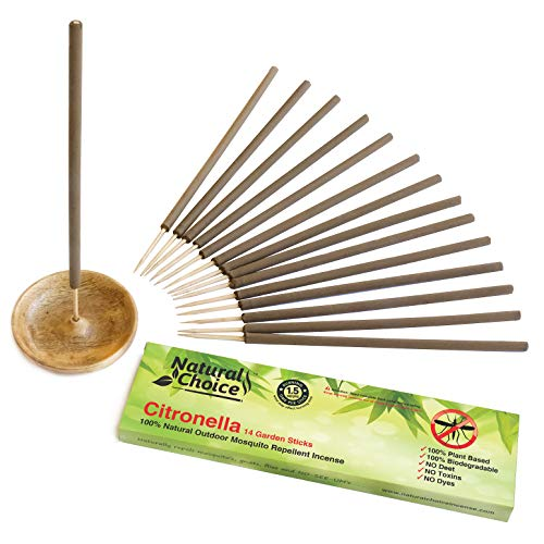 Natural Choice Citronella Incense Stick with Holder   100% Natural Plant Based Mosquito Repellent   Deet Free Made with 100% Natural Plant Oils   14 Sticks Plus Wooden Burner