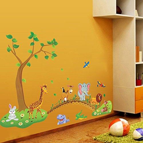 Jungle Animal Across the Bridge Removable Cartoon Wall Sticker Wall Decal Wall Decor Wallpaper for Kids Children Room