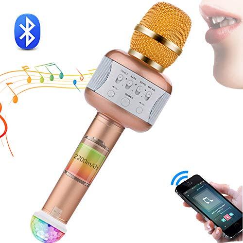 SHENGY Bluetooth Karaoke, micrófono y Altavoz, Compatible con la mayoría de Las Aplicaciones de Karaoke, descargable e inalámbrico, para Android/iPhone/iPad/PC,Gold