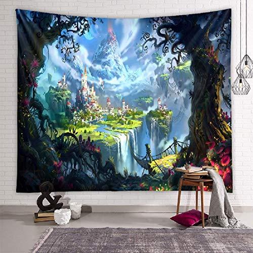 Tapiz de castillo de cuento de hadas Tapiz psicodélico Esterilla de yoga Mandala indio Tapiz de bohemia Tarot Montado en la pared (Castillo de cuento de hadas XL / 150x200cm)