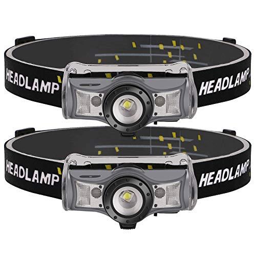 Coquimbo Lampada Frontale LED, USB Ricaricabile Torcia Frontale, Zoomabile Lampada da Testa, 4 Modalità, 210 Lumens, Altezza Regolabile, Ideale per Running, Pesca, Campeggio, Ciclismo(2 Pezzi)
