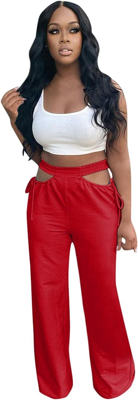UBST Women's Cut Out Wide Leg Pants High Waist Stretch Self Tie Solid Long Pants Palazzo Pants for Women Capri Pants