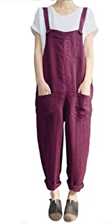 OSEING Women's Relaxed Fit Lightweight Linen Cropped Bib Overalls Baggy Jumpsuits