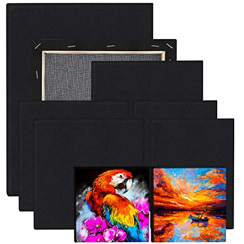 URATOT 9 Pieces Black Blank Cotton Stretched Canvas Assorted Size Art Canvas Black Artist Blank Canvas Creative Blank Painting Panels Acrylic Oil Water Painting Board for Painting