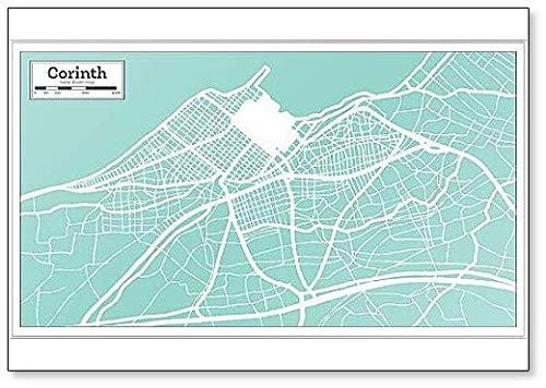 Corinth Greece City Map in Retro Style. Outline Map.80 Fridge Magnet
