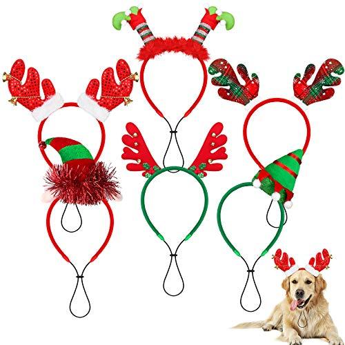 Elcoho Weihnachts-Hunde-Stirnband mit Rentier-Geweih, für Hunde und Katzen, 6 Stück