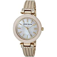 Anne Klein Women's Swarovski Crystal Accented Mesh Bracelet Watch (AK/1906PMGB)