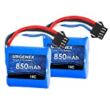 URGENEX Lipo Battery 7.4V(2 x 3.7V) 850mAh Lipo Battery with SM-4P Plug for UDI008 UD08 UDI001 Venom Speed RC Boat 2 Pack