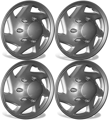 OxGord 16 inch Hubcaps Best for 2007 2014 Ford E150 Set of 4 Wheel Covers 16in Hub Caps Silver product image