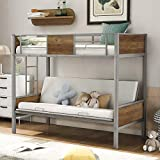 P PURLOVE Twin-Over-Futon Bunk Bed Metal Twin Over Full Bunk Bed Frame with Guardrails and Ladder for Teens Adults (Gray)