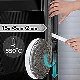Ruban adhésif isolant - Joint d'étanchéité pour vitre et porte du four – (L) : 15 m – (l x H) : 8 x 2 mm - DIMENSIONS AU...