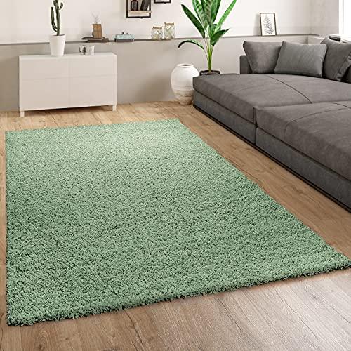 Alfombra Shaggy Salón Verde Pelo Largo Mullida Suave Cómoda Robusta, tamaño:140x200 cm