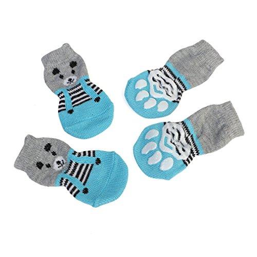 Gugutogo Cute Pattern Pet Socks Soft Pure Cotton Cani Cats Socks Indoor Floor Socks (Colore: Blu e Grigio) (Taglia: S)