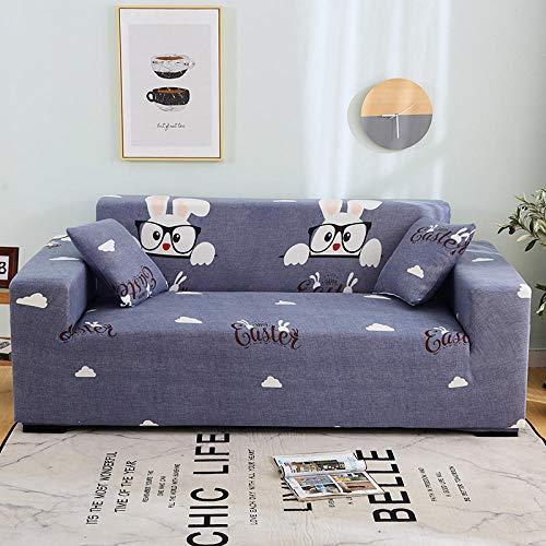 Funda de Sofá Elástica Funda Sofá Gruesa Antideslizante, Cubierta Sofa Muebles con Cuerda de Fijación Antideslizante Protector de Muebles (Conejito de anteojos, Azul, 2 Plazas )