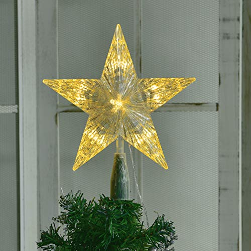 YQing Christmas Tree Star Topper, 10 Inch LED Xmas Tree Topper Star Christmas Decoration Glittered Tree-top Star for Christmas Tree Ornament Indoor Party Home Decoration, Transparent