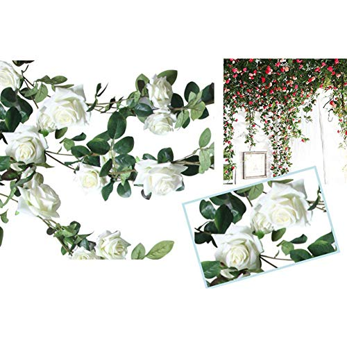 SZMYLED Fake Hanging Rose Vines, Artificial Rose Vine Flowers Garland Hanging Silk Rose Vine for Wall Rattan Wedding Home Office Arch Arrangement Decoration white