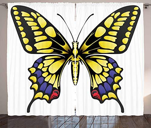ABAKUHAUS Schwalbenschwanz Rustikaler Gardine, Großer Machaon, Schlafzimmer Kräuselband Vorhang mit Schlaufen und Haken, 280 x 225 cm, Lila Gelb Schwarz
