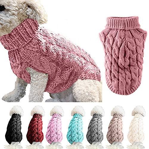 Suéter de punto de cuello alto para mascotas, abrigo de invierno, más cálido, para hacer punto, ropa de ganchillo para perros pequeños, medianos y grandes (M, rosa)