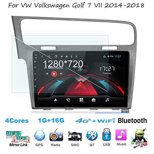 TypeBuilt Android 8.1 Autoradio Radio Navigationssystem Für VW Volkswagen Golf 7 VII 2014-2018 Gürtel DAB+ Digitalradio Bluetooth USB Mirrorlink Sygic GPS Verkehrsinfo Navigation,4cores,1G+16G