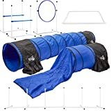 Better Sporting Dogs Deluxe Agility Equipment Set | 7pc Dog Agility Equipment | 3 Jumps | 2 Tunnels with Sandbags | Weave Poles | Pause Box