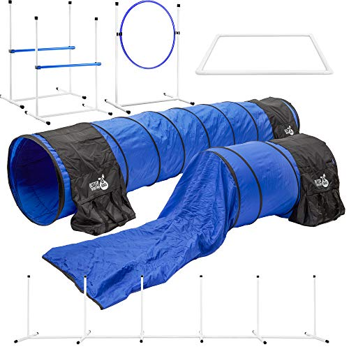 Better Sporting Dogs Deluxe Agility Equipment Set | 7pc Dog Agility Equipment | 3 Jumps | 2 Tunnels...