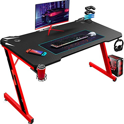 Homall Gaming Tisch 110 cm Schreibtisch Computertisch PC mit Getränkehalter und Kopfhörerhalter Z-förmig, Rot