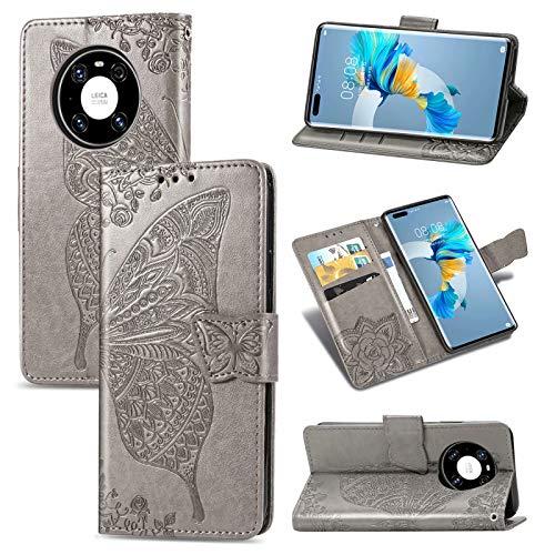 TOPOFU Flip Folio Hülle für Huawei Mate 40 Pro, Schutzhülle PU/TPU Leder Klapptasche Handytasche 3D Schmetterling Muster Design, mit Ständer & Kartenfächer, Handyhülle (Grau)