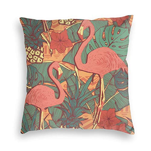 KXT Flamingos Floral Pineapples Decorative Velvet Throw Pillow Covers,Cushion Case for Couch Sofa Bed 18'' x 18