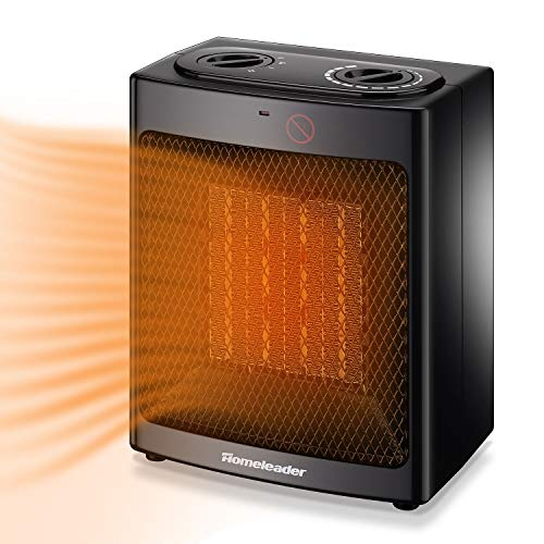 Homeleader Ceramic Space Heater for Home and Office, Portable Electric Heater with Adjustable Thermoststs, 750W/1500W NSB-150C6 Heater Portable Space