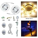 Motion Activated Bed Light AIBOO Flexible LED Strip Sensor Night Light Illumination with Automatic Adjustable Shut Off Timer, Entrance, Closet, Furniture Lighting (6.6ft Warm Double Strips)