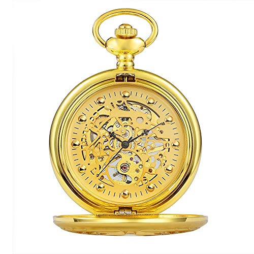 LITINGT Reloj de Bolsillo Reloj de Bolsillo con Forma de Concha Grabado Hueco Retro Reloj de Bolsillo mecánico para Hombre Oro Plateado (Color: Dorado, Tamaño: Talla única)
