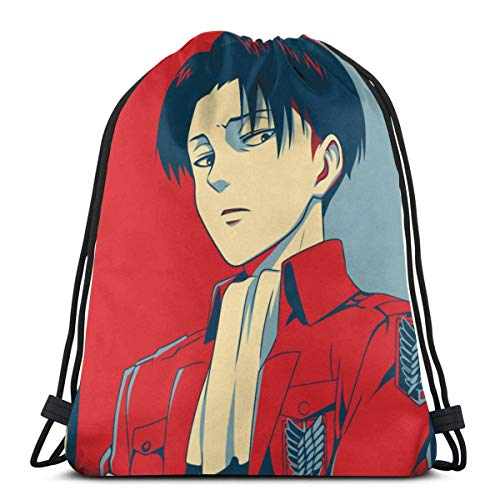 WH-CLA Drawstring Backpack Anime Attack On Titan Levi Anime Sport Lightweight Gym Storage Goodie Bags Party Favor Bags Cinch Bags Print Wrapping Gift Bag Drawstring Backpacks Durable Draw