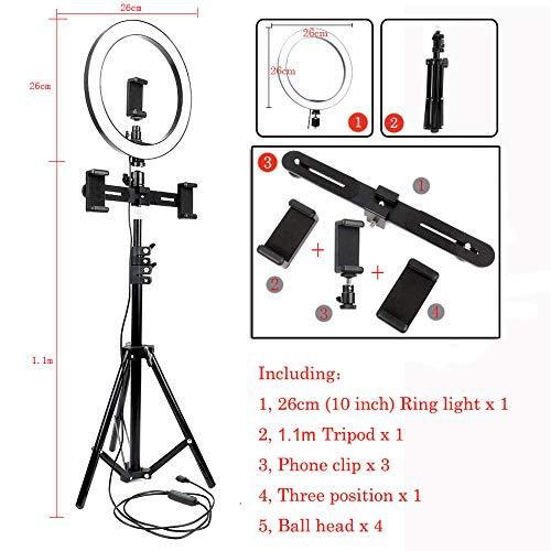 QWERTOUY 10 inch 26 cm USB-interface dimbare LED selfie ringlicht camera telefoon fotografie video make-up lamp met statief telefoon clip 4