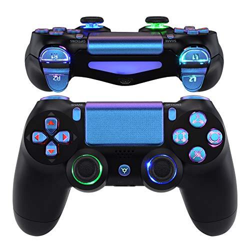 eXtremeRate Multicolori Tasti DTFS LED Kit per PS4 Levette Analogiche Joystick D-pad Trigger Pulsanti per Playstation 4 PS4 Pro Slim Controller CUH-ZCT2-NON Include Controller(Camaleonte Viola Blu)