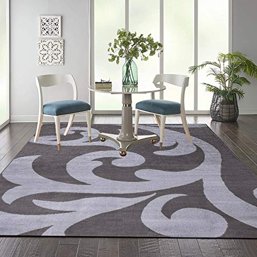 B&B Rugs Living Room Large - Modern Low Pile Heavy Duty Geometric Carpet Runner - Washable Anti Slip Backing Indoor Area Rug (200 X 290 Cm (6 Ft 7 In X 9 Ft 6 In) - Dark Grey