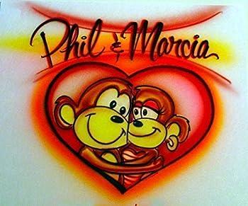 Airbrush Couple Love Monkey - Adult T-Shirt - Custom Personalized Airbrushed Names Boyfriend - Girlfriend