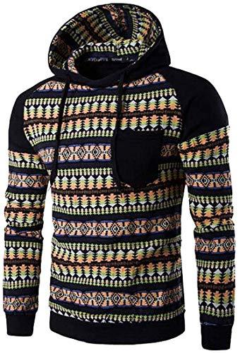 Herren Kapuzenpullover Frühling Herbst Casual Ethnic Style Hooded Pullover Hoody Classic Hoodies Sweatshirt Sports Top Jungs (Color : Schwarz, Size : M)