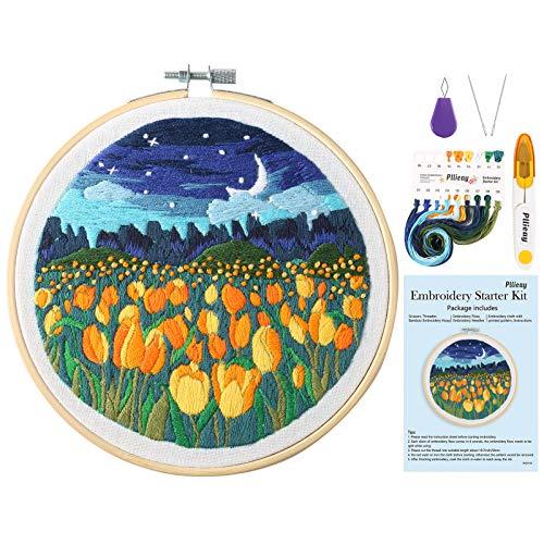 Pllieay Kit de bordado de nitrógeno con patrón de tulipanes, marco de bordado de bambú, hilos de colores y kit de herramientas (5,9 pulgadas)