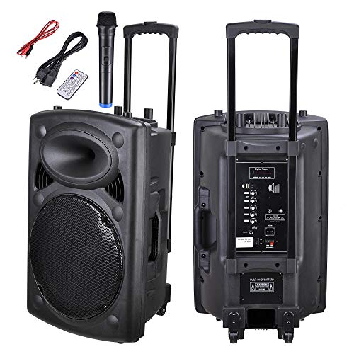AW 1500W Portable Active PA Speaker w/Wireless Microphone AMP Bluetooth USB SD LCD FM Party Show