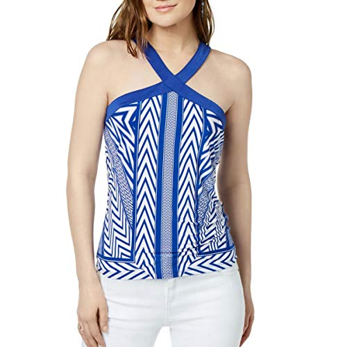 Price comparison product image INC International Concepts Printed Crossover Halter Top (Blue Ziggy,  XL)