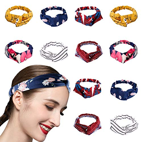 Knotted Headbands for Women Elastic 12 Pack head bands stretch Womens Headbands Fashion No Slip Boho Floral Criss Cross Cute Hair Band for Yoga Running Dating(Set 12)