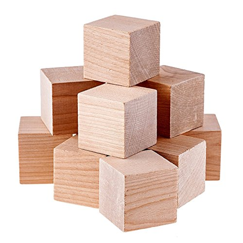 Namvo 12PCS Cubos de Madera - 50mm- Bloques Cuadrados de Madera para la fabricación de Rompecabezas, artesanías y proyectos de Bricolaje
