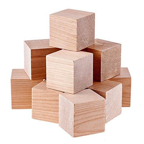 Namvo Houten vierkante blokjes, 12 stuks, 50 mm, voor het maken van puzzels, vaardigheden en doe-het-zelfprojecten