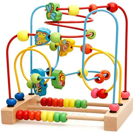 Goodfaith ビーズ玩具 ビーズコースター ルーピング 知育玩具 つながるビーズ ビーズおもちゃ 赤ちゃんおもちゃ 積み木 早期右脳開発 算数 動物 木製 知育玩具 多機能 キッズ カラフル プレゼント