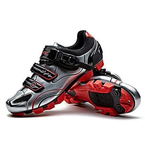 Santic Cycling Shoes Men MTB Mountain Bike Cycle Shoes Mens Cycling Shoes Silver EU 42